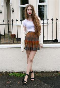#Vintage #Tartan Pleated Mini #Skirt