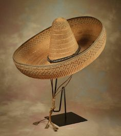 Humongous 19th C Straw Sombrero - High Noon Western Americana