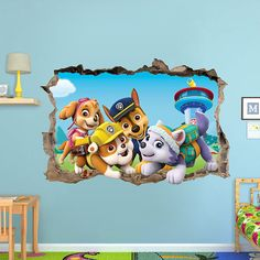 paw patrol 3d Wall Sticker Smashed Bedroom decor Vinyl Removable Art Decal Removable  Mural for Kids Skye Chase Everest Rubble