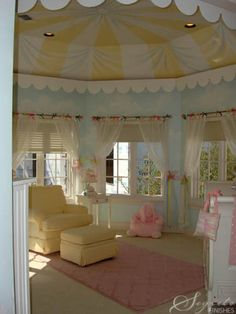 With a soft and dreamy room in mind for this little girl, a carousel was created which highlighted the wonderful ceiling shape. The color palette in this room is so soft and sweet--fit for wonderful dreams!!