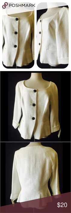 Bob Mackie White 3/4 Sleeve Jacket The style options are endless with this waffle style texture with a floral embossed design jacket.it sports a classic deep round neckline and 3 decorative buttons down the front. Princess seams and cuffed 3/4 sleeves offer a flattering fit. Fully lined with seam pockets. Cotton & Polyester Bob Mackie Jackets & Coats