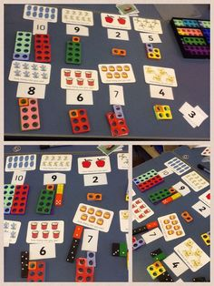 Recognising number to 10 - counting objects - concrete and abstract. This helps the pupil link Numicon to everyday items around them Maths Eyfs, Preschool Math, Kindergarten Math, Numicon Activities, Mastery Maths, Fractions, Maths Display, Early Years Maths, Down Syndrom