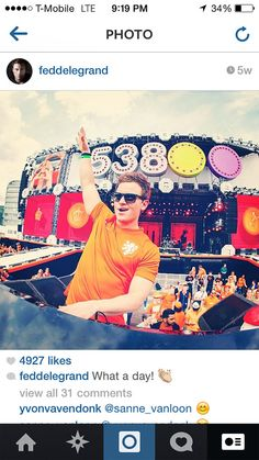 """Fedde Le Grand wearing the 2014 World Cup Netherlands Home jersey with name """"LE GRAND"""" and #6. Get your jersey at edmgears.com"""