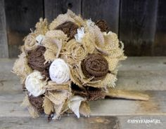 Burlap and Lace Bride's Wedding Bouquet