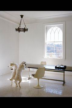 Michael Bruno's Tuxedo Park kitchen in WSJ.com. Nice tile floor, beadboard, window