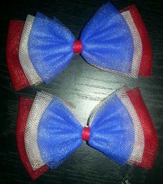 Pair of handmade red, white and blue tulle hair bows! Perfect for 4th of July!