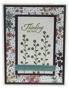 Thinking About WildflowersStamps: Flowering Fields (141303), Wetlands (126697) Paper: Card Stock - Blackberry Bliss, Hello Honey, Lost Lagoon, Whisper White DSP - Wildflower Fields (141022) Ink: Ink - StazOn Jet Black Markers - Hello Honey, Old Olive Accessories: Stitched Satin Ribbon Lost Lagoon (133672)   Read more: http://www.splitcoaststampers.com/gallery/photo/2692798#ixzz3xRCP2Y2f