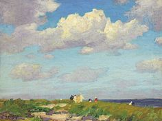 """""""Along the Marginal Way,"""" Edward Henry Potthast, oil on canvasboard, 12 x 15 7/8"""", private collection."""