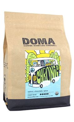 Doma Coffee 'The Chronic - Organic' Medium Roasted Fair Trade Organic Whole Bean Coffee - 12 Ounce Bag -- Click on the image for additional details.