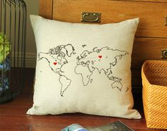 Valentines day for her,Custom state pillow case,decorative throw pillow,gift idea,custom world map Pillow,Linen cotton pillow cover #3481