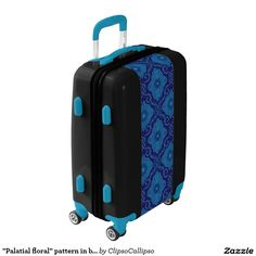 """""""Palatial floral"""" pattern in blue shades Luggage #blue, #navy+blue, #dark+blue, #royal+blue, #cerulean, #azure, #cobalt, #ultramarine, #lapis, #cornflower, #floral, #flower, #pattern, #bohemian, #pattern, #ornament, #ornamental, #flourishing, #blooming, #bloom,#decorative, #trendy, #70s, #arabesque, #eastern, #luxurious, #palatial, #rich, #deluxe, #grand, #superb, #plush, #saturated, #colorful, #seamless, #vintage, #design, #motif, #medallion, #magnificent, #gorgeous, #splendid, #whimsical…"""
