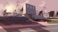 "The Utonium House - Throughout the Day - Backgrounds from the Powerpuff Girls Special ""Dance Pantsed"" Timelapse wizardry by Stephane Coedel"