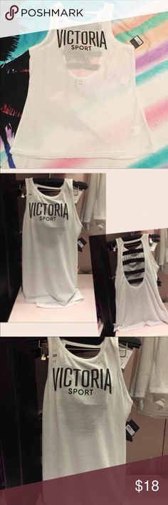 VS Sport Tank New with tag.   Color: White  Size: XS   Show off your sport bra while you work it in an open-back tank with contrast elastic. * Cut-out back with elastic banding * Body-Wick keeps you cool & dry * Machine wash. Tumble Dry * Imported cotton/polyester/nylon/spandex PINK Victoria's Secret Tops Tank Tops