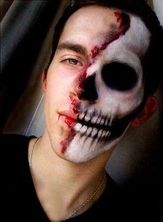 skull halloween makeup   Skull makeup Man Skull Makeup, Mummy Makeup, Sugar Skull Makeup, Scary Makeup, Costume Makeup, Mens Halloween Makeup, Scary Halloween, Halloween Makeuo, Blood Makeup