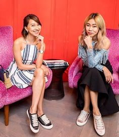 Melissa Hoh and Nellie Lim wearing Pedro García Parson satin sneakers in black and pink at Pedder On Scotts