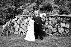 Serious bride and groom rustic portrait at dusk- Kate Saler Photography: Chelsey & Ryan's DIY Northville Wedding www.katesalerphotography.com