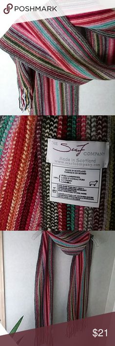 "Just in! 100% Pure Lambswool Scarf (Scotland) Gorgeous and incredible quality!  Beautifully woven 2-Ply 100% Pure Lambswool Striped Scarf by ""THE SCARF COMPANY"" (Scotland). Colorful, soft, versatile. Preowned, like-new EUC. Multi-color: corals, aqua, forest green, cranberry, grays, blue, orange, rust, black, Ivory. Made in Scotland 8"" x 68"" + 4"" fringe each end  Proudly own this quality, natural fiber scarf for less than the cost of an acrylic! Thank you!  Braid The Scarf Company (Scotland)…"