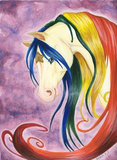 """""""Starlight"""" from the cartoon """"Rainbow Brite"""" I painted this for our little girl to be, who is to be arriving sometime around October I plan on doin. Unicorn Art, Rainbow Unicorn, Unicorn Pictures, Unicorn Pics, 80s Cartoon Shows, Pegasus, Rabbit Drawing, 80 Cartoons, Rainbow Brite"""