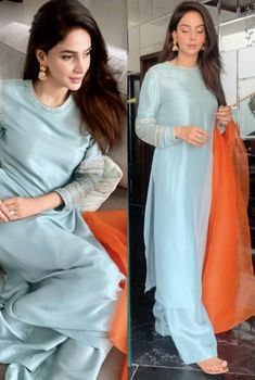 Dholki/ nikkah/ mayun outfit inspo for guests - Pakistani dresses Simple Pakistani Dresses, Pakistani Fashion Casual, Pakistani Wedding Outfits, Pakistani Dress Design, Indian Fashion, Stylish Dresses For Girls, Simple Dresses, Casual Dresses, Dress Indian Style