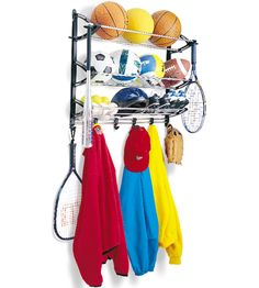 Keep all your sporting equipment and gear stored in one convenient location with this Sports Equipment Storage Rack.