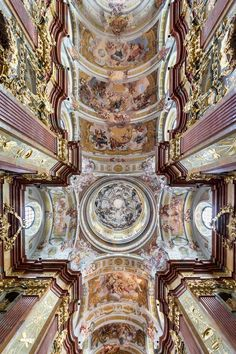 Frescos of dome and ceiling in Melk Abbey Church (Austria) by Johann Michael Rottmayr (1716-22). Credit Uoaei1