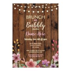 Brunch & Bubbly Vintage Flower Bridal Shower Wood Card - invitations personalize custom special event invitation idea style party card cards