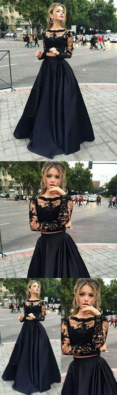 Two Pieces Black Prom Dress with Long Sleeves · BBTrending · Online Store Powered by Storenvy