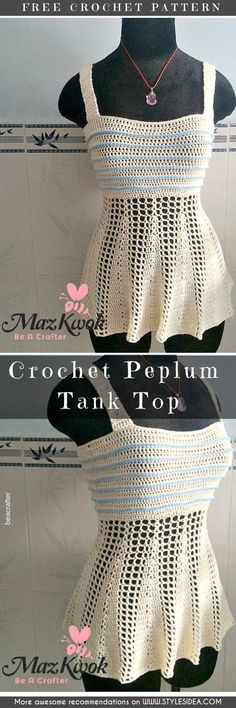 Peplum Tank Top Free Crochet Pattern #crochetfreepatternsforTank Top #crochetfreepatternsfortunic #crochetfreepatternsfortopcrochetfreepatternsforlady