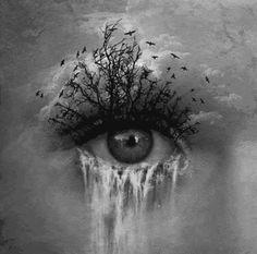 Eye with waterfall tears animated gif
