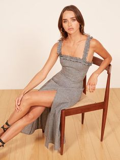 74b66f9dcc70 Reformation - linen emergencies solved here. This is a midi length dress  with a ruffle