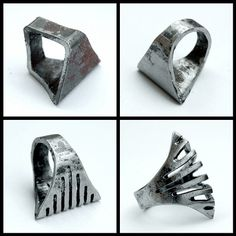 exotic forged iron jewellery - Blind Spot Jewelry from Italy treats iron as a precious metal, creating rings, bracelets and earrings with utmost detail. Blind Spot Jewelry also. Metal Jewelry, Jewelry Art, Jewelry Design, Metal Projects, Metal Crafts, Welding Projects, Blacksmith Projects, How To Make Rings, Forging Metal