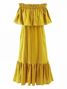 Shop Yellow Off Shoulder Stretch Shirred Panel Ruffle Maxi Dress from choies.com .Free shipping Worldwide.$25.19