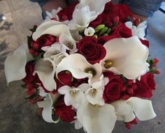 Red, Black, and white Wedding Bouquets | in red and white this wedding bouquet features classic wedding flowers ...