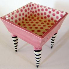 Pink polkadot square ceramic Dish on striped whimsical by maryjudy, $60.00How cute is that?!