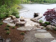 Lakeside Living, Outdoor Living, Lakeside Cabin, Fire Pit Landscaping, Landscaping Ideas, Michigan Landscaping, Landscaping Edging, Steep Hill Landscaping, Rustic Landscaping