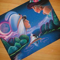 Disney Artwork, Disney Fan Art, Disney Sketches, Disney Drawings, Cool Art Drawings, Colorful Drawings, Arte Aladdin, Disney Canvas Paintings, Disney Movie Scenes