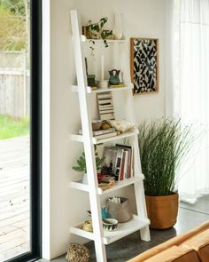 Asterix Ladder Shelf : Asterisk Ladder Shelf for Small Spaces Bookshelves For Small Spaces, Bookshelves In Living Room, Small Bookcase, Small Space Living Room, Home Living Room, Living Room Decor, Bedroom Small, Ladder Shelf Decor, Ladder Bookshelf