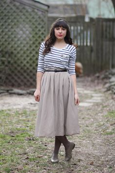 neutral skirt and striped top!