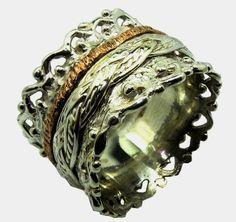 Bague tube argent or Israeli ring Spinner ring floral by Bluenoemi, $230.00