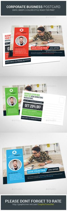 Multiuse Business Postcard Template #clean #in-design template Download : https://graphicriver.net/item/multiuse-business-postcard-template-/10093858?ref=pxcr