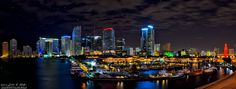 Bayside by Night, Downtown Miami from the Port blvd bridge panoramic HDR | by JustinKelefas.com