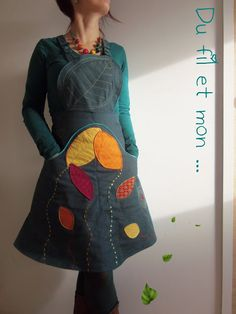 Du fil et mon...: Robe Végétalisée Quilted Clothes, Sewing Clothes, Diy Fashion, Trendy Fashion, Winter Fashion, Ropa Shabby Chic, Crazy Dresses, Couture Tops, Jeans Style