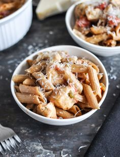 super easy creamy tomato and chicken baked penne