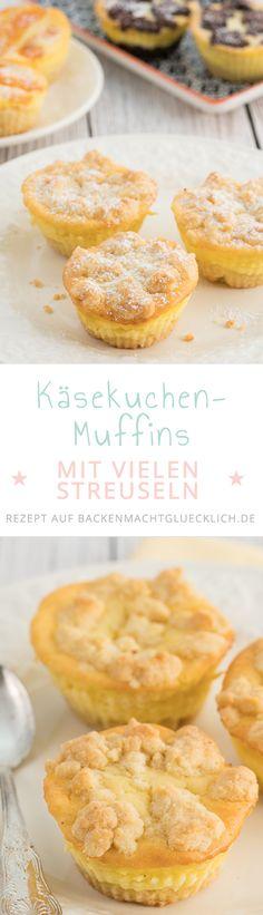 Tolles Grundrezept für Käsekuchen-Muffins. Knusprige Streusel auf saftiger Quarkcreme -  diese Käsekuchen-Muffins mit Streuseln müsst ihr probieren!