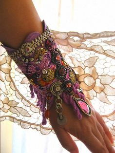 RESERVED for Ashley Gypsy, Bracelet, Vintage Textiles, Purple Glass, Vintage Cross, Jewellery, Tribal. $155.00, via Etsy.