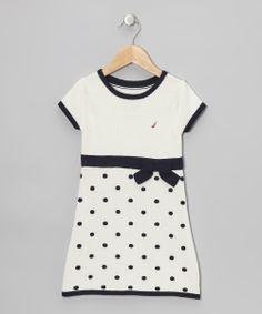 Natural & Navy Polka Dot Bow Dress - Toddler | Daily deals for moms, babies and kids