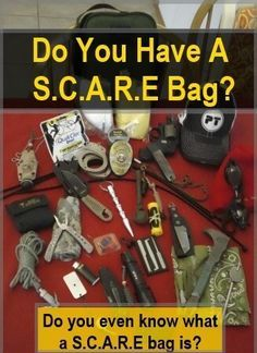 SCARE Bag - Social Chaos And Response Emergency Bag. What everyone needs one with them every day in today's uneasy environment. Pick & choose but put one together today to supplement your EDC. Survival Food, Outdoor Survival, Survival Prepping, Survival Skills, Survival Stuff, Survival Hacks, Survival Equipment, Survival Items, Car Survival Kits