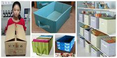 Haz útiles cajas organizadoras reciclando cartón y tela ~ Solountip.com Linen Closet Organization, Cardboard Crafts, Ideas Para, Recycling, Diy Crafts, Box, Fabric, Home Decor, Organize Dresser Drawers