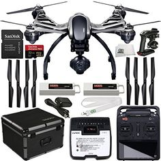 YUNEEC Q500 4K Typhoon Quadcopter with CGO3-GB Camera (RTF) 32GB Bundle Includes 2 YUNEEC 5400mAh 3S LiPo Flight Batteries + SanDisk Extreme PRO 32GB UHS-I/U3 Micro SDHC Memory Card (SDSDQXP-032G-G46A) + Memory Card Adapter + ST10+ Personal Ground Station + YUNEEC Landing Gear / Skid Set + 4 CW and CCW Propeller Pairs + Handheld CGO Steady Grip + SC 3500-3 DC LiPo Balancing Charger + AC Adapter + YUNEEC Aluminum Hard Shell Case + SSE Transmitter Lanyard + Microfiber Cleaning Cloth drone…