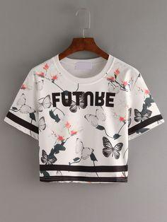 Crop+T-Shirt+Rundhals+mit+All-Over-Schmetterlingsdruck+und+Streifen+Detail+8.33